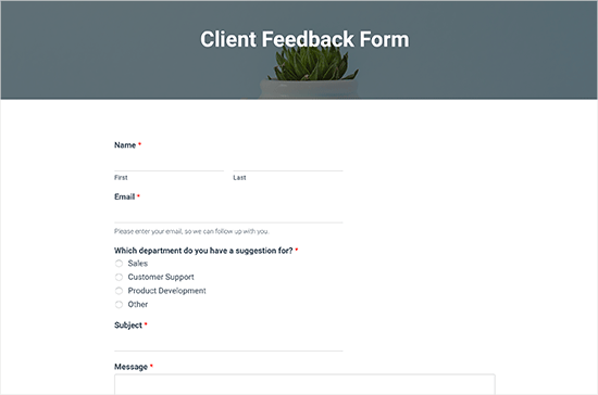 Pratinjau bentuk umpan balik klien