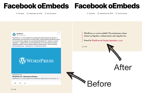 Facebook oEmbed Sebelum dan Sesudah
