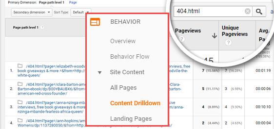 temukan kesalahan 404 di Google Analytics