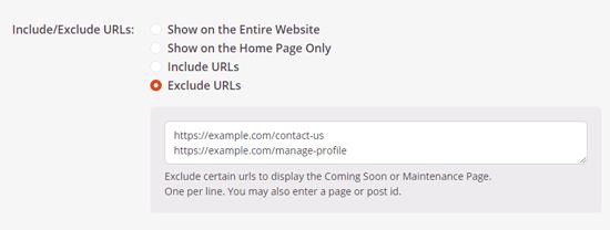 Kecualikan URL dari halaman pemeliharaan