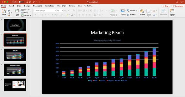 grafik template pemasaran gratis di PowerPoint