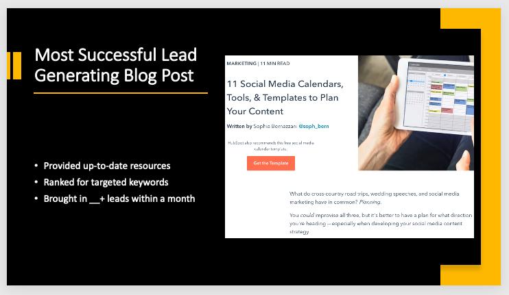 PowerPoint menampilkan kesimpulan yang diambil dari template pelaporan pemasaran bulanan gratis