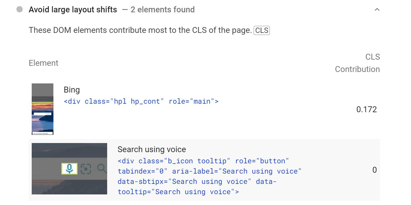 Petunjuk dari wawasan PageSpeed tentang cara menghindari peristiwa CLS.