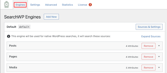 Pengaturan mesin SearchWP