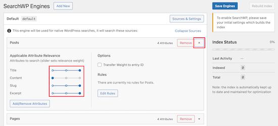 Sesuaikan pengaturan penggeser SearchWP