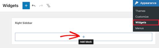 Tambahkan blok widget baru untuk pencarian