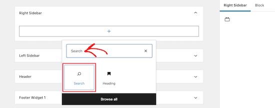Tambahkan blok pencarian baru