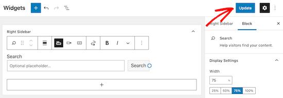 Perbarui dan simpan widget formulir pencarian