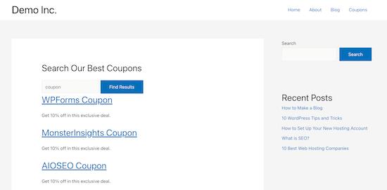 Contoh formulir pencarian jenis posting khusus