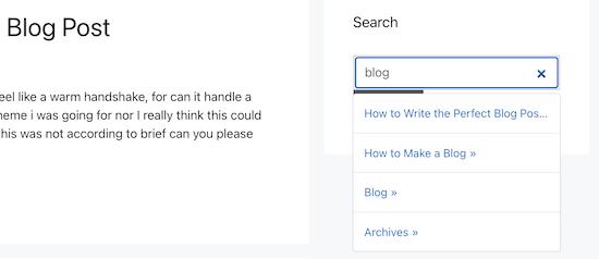 Contoh widget pencarian Ajax langsung