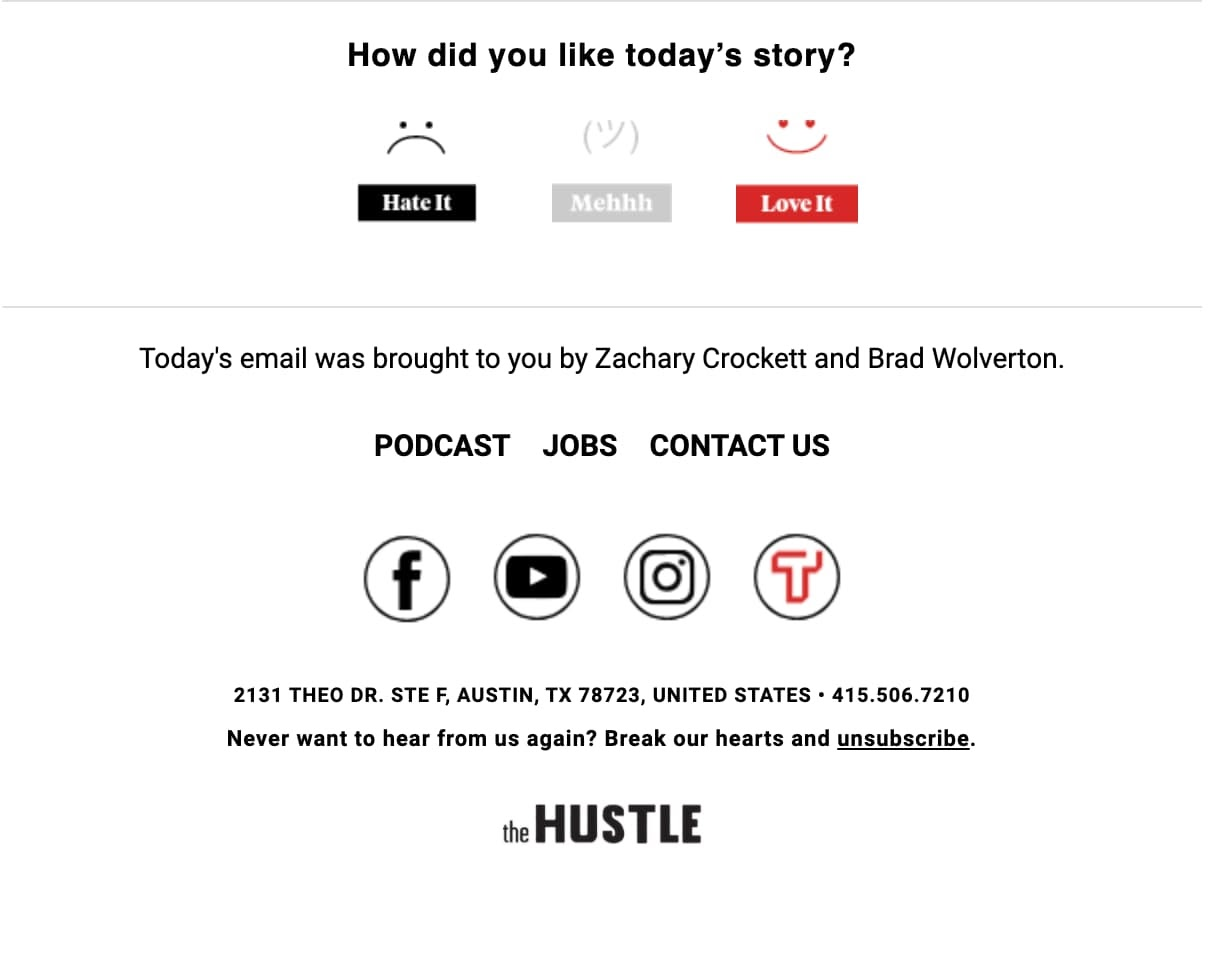 Contoh tombol berhenti berlangganan dari The Hustle