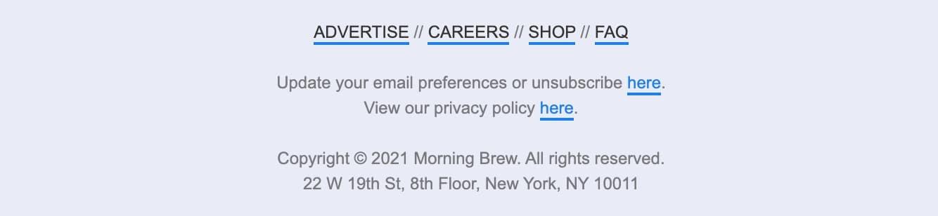 Contoh tombol berhenti berlangganan dari The Marketing Brew