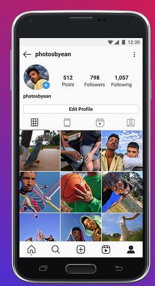 contoh ux tab profil instagram lite